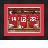Nebraska Cornhuskers Personalized Locker Room 13 x 16 Framed Photograph