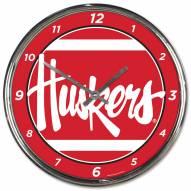 Nebraska Cornhuskers Round Chrome Wall Clock