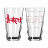 Nebraska Cornhuskers Satin Etch Pint Glass - Set of 2