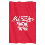 Nebraska Cornhuskers Script Sweatshirt Throw Blanket