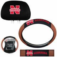 Nebraska Cornhuskers Steering Wheel & Headrest Cover Set