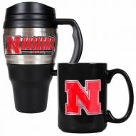 Nebraska Cornhuskers Travel Mug & Coffee Mug Set