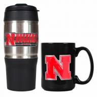 Nebraska Cornhuskers Travel Tumbler & Coffee Mug Set