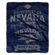 Nevada Wolf Pack Label Raschel Throw Blanket