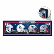 New England Patriots Helmets Wood Sign