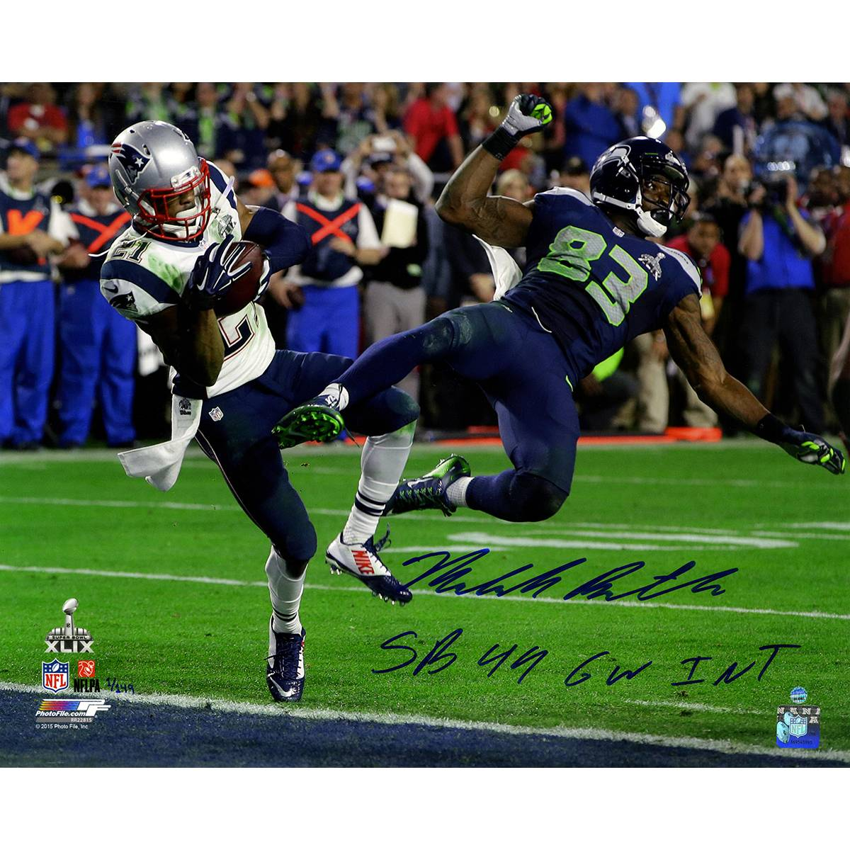 New England Patriots Malcolm Butler Metallic Super Bowl 49 INT w