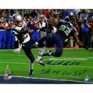 "New England Patriots Malcolm Butler Metallic Super Bowl 49 INT w/ ""GW INT SB 49"" Signed 16"" x 20"" Photo"