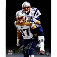 "New England Patriots Rob Gronkowski 'Carrying Tom Brady' with Black Background Signed 16"" x 20"" Photo"