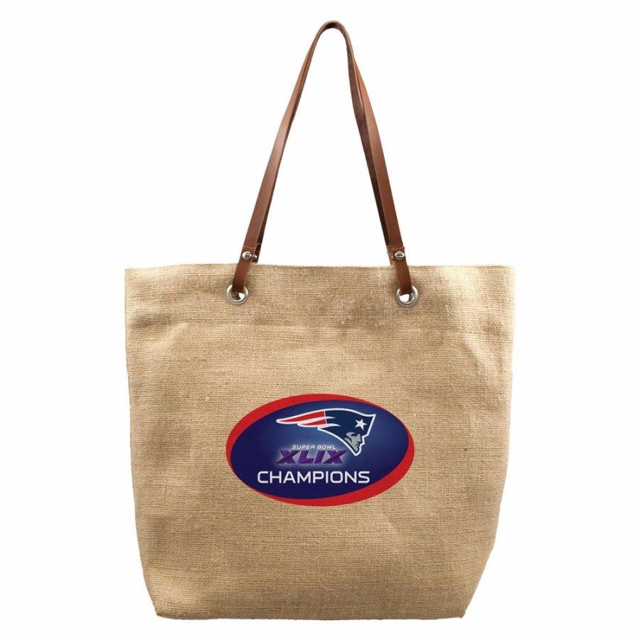 New England Patriots Super Bowl Burlap Market Tote