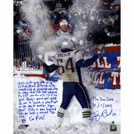 "New England Patriots Tedy Bruschi Snow Game and Super Bowl Story Signed 16"" x 20"" Photo"