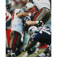 "New England Patriots Tedy Bruschi Tackle vs Bucs Signed 16"" x 20"" Photo"