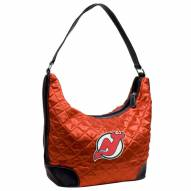 New Jersey Devils Quilted Hobo Handbag