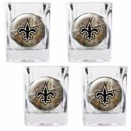 New Orleans Saints Open Field 4-Piece RealTree Square Shot Glass Set