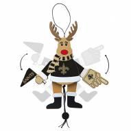 New Orleans Saints Cheering Reindeer Ornament