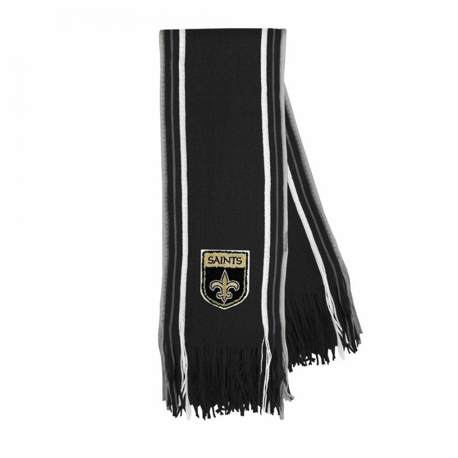 New Orleans Saints Crest Stripe Fringe Scarf