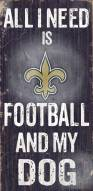 New Orleans Saints Football & Dog Wood Sign