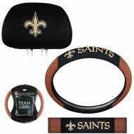 New Orleans Saints Steering Wheel & Headrest Cover Set