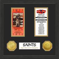 New Orleans Saints Super Bowl Ticket Collection Framed