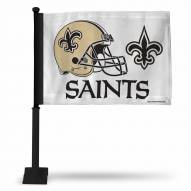 New Orleans Saints White Car Flag with Black Pole