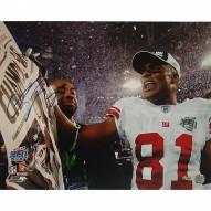 """New York Giants Amani Toomer SB XLII Celebration Holding Newspaper Signed 16"""" x 20"""" Photo"""