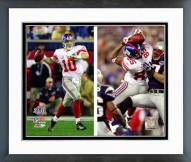 New York Giants Eli Manning and David Tyree SBXLII Split Shot Framed Photo