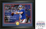New York Giants Eli Manning Quote Bronze Coin Photo Mint