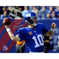 "New York Giants Eli Manning Throwing A Pass w/ ""100th Win 10/16/16"" Signed 16"" x 20"" Photo"