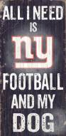New York Giants Football & Dog Wood Sign