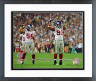 New York Giants Justin Tuck & Kawika Mitchell Super Bowl XLII Framed Photo