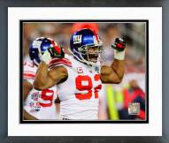 New York Giants Michael Strahan Super Bowl XLII Action Framed Photo