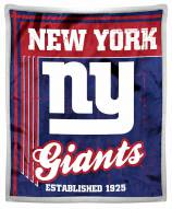 New York Giants Old School Mink Sherpa Throw Blanket