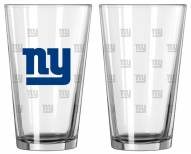 New York Giants Satin Etch Pint Glass - Set of 2