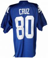 New York Giants Victor Cruz Signed On-Field Blue Jersey