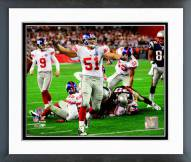 New York Giants Zak DeOssie SuperBowl XLII 2008 Action Framed Photo