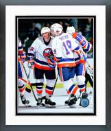 New York Islanders Bryan Trottier & Mike Bossy Action Framed Photo