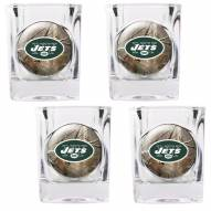 New York Jets Open Field 4-Piece RealTree Square Shot Glass Set