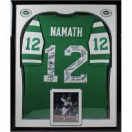 New York Jets Joe Namath 1969 Framed Team Signed Green Mitchell & Ness Jersey