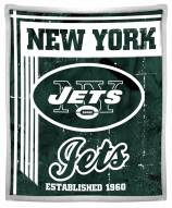 New York Jets Old School Mink Sherpa Throw Blanket