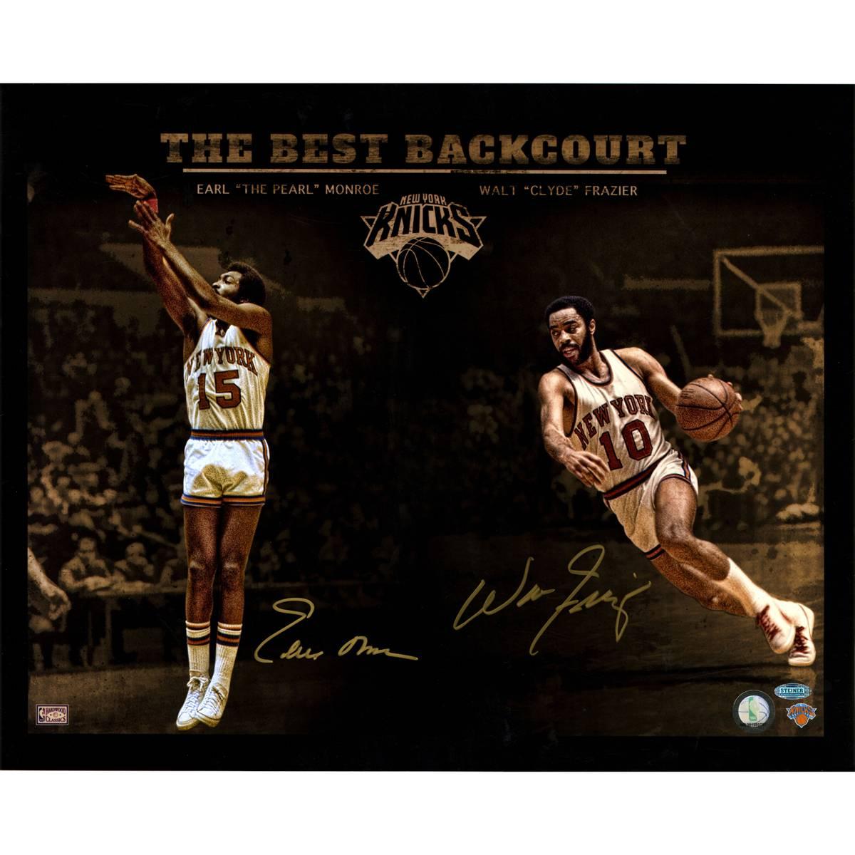 """New York Knicks Walt Frazier & Earl Monroe Signed 16"""" x 20"""""""