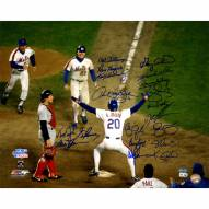 """New York Mets 1986 Johnson at Home Plate w/ Gary Carter (19 Signatures) Signed 16"""" x 20"""" Photo"""