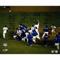 """New York Mets 1986 Team Celebration w/ Gary Carter (19 Signatures) Signed 16"""" x 20"""" Photo"""