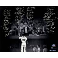 """New York Mets 1986 Team Signed Darryl Strawberry Curtain Call (28 Signatures) Signed 16"""" x 20"""" Photo"""