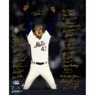 """New York Mets 1986 Team Signed Last Out Celebration (28 Signatures) Signed 16"""" x 20"""" Photo"""