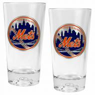New York Mets Baseball Sculpted Bottom Pint Glass Set