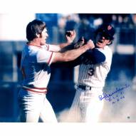 """New York Mets Bud Harrelson Fighting w/ Pete Rose w/ """"NLCS 10-8-73"""" Signed 16"""" x 20"""" Photo"""