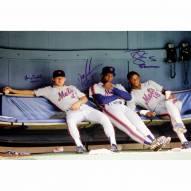 "New York Mets Dwight Gooden/Lenny Dykstra/Darryl Strawberry On Bench Signed 16"" x 20"" Photo"