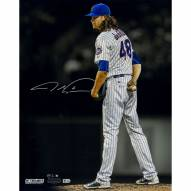 """New York Mets Jacob deGrom Staring Down the Batter Metallic Signed 16"""" x 20"""" Photo"""