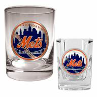 New York Mets MLB 14 Oz Rocks Glass & Square Shot Glass 2-Piece Set