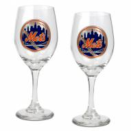 New York Mets MLB 2-Piece Wine Glass Set