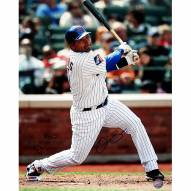 "New York Mets Omir Santos Home Pinstripe Swing Signed 16"" x 20"" Photo"